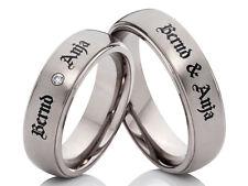 2 Verlobungsringe Eheringe Trauringe aus Titan mit Lasergravur