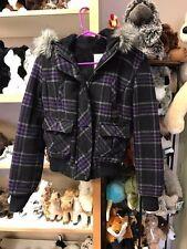 AEROPOSTALE girl's hooded coat jacket hoodie with fur hood purple black size SP