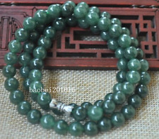 "Jade necklace Special offer 20"" Ff04 8Mm Certified Untreated Green Icy Jadeite"