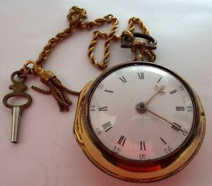 VERY RARE PAIR CASE POCKET WATCH VERGE FUSEE WITH FINE CHAIN WORKING C1780