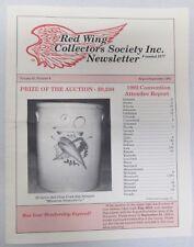 Red Wing Collectors Newsletter August September 1992 Salt Glaze Crock Mn USA