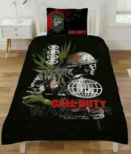 Single Bed Duvet Cover Set Call Of Duty Warning Reversible War Army Battle