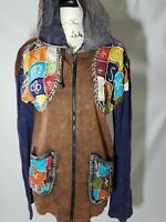 KPC Womens Multi Color Patchwork Full Zip Hooded Jacket Size Small Art To Wear