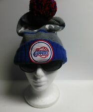 Mitchell And Ness Los Angeles Clippers Basketball Pom Knit Beanie Blue/Red/Gray