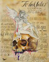 Original Obra de Arte Fantasía Fairy Duende Sobre Calavera Y Poema Por Mortimer