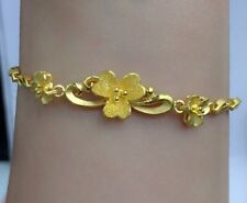24K Solid Yellow Gold Flowers Cute Bracelet. 6.5 Inches, 9.46 Grams