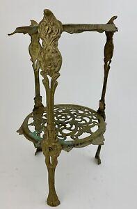 Vtg Round Metal Table Plant Stand Ornate Art Nouveau Claw Foot Cherub Bronze