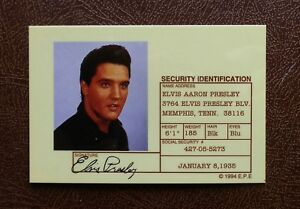 Elvis Presley Security ID Card - 1994 Replica From Crystal Craft (Gold Coast)