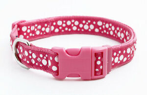 Douglas Paquette BUBBLES HOT PINK Nylon & Ribbon Adjustable Dog Collar, Harness