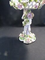 ANTIQUE GERMAN DRESDEN LACE ANGEL PORCELAIN FIGURINE HOLDING DISH