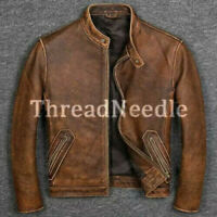 Mens Vintage Style Real Leather Distressed Cafe Racer Brown Jacket