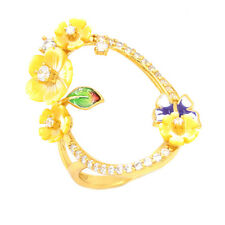 WOW! EXQUISITE CUBIC ZIRCONIA YELLOW MOP ENAMEL STERLING SILVER 925 RING SIZE 9