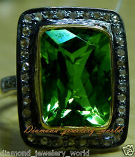 Victorian Estate 1.68cts Rose Cut Diamond Emerald Studded Silver Ring Jewelry