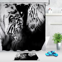 Waterproof Polyester Fabric Two White Tigers Shower Curtain Liner Bathroom Hooks