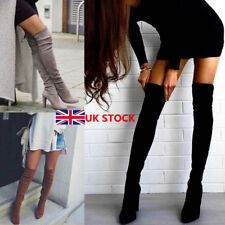 UK Women Ladies Suede Over Knee Thigh Boots Stretch High Heel Elastic Shoes Size