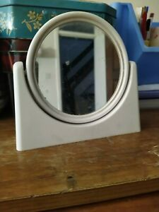 Vintage retro Boots white plastic table desk make up mirror