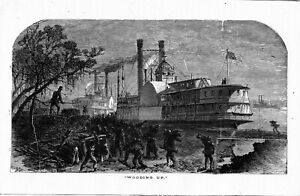 """Mississippi River """" WOODING UP""""  1883 antique bookplate"""