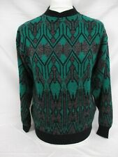 Fairisle Icelandic Sweater, CACHAREL Nordic Knit Jumper, Small, Green, 53cm Wide