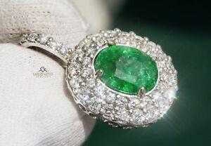 Tsavorite Pendant Diamond Gold 14K Natural GIA Certified 4.46CTW RETAIL $8,600