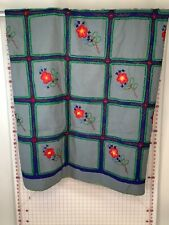 """Handmade Gray Blue Embroidered Floral Blanket 55""""x55"""""""