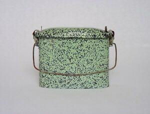 Enamelware EARLY VINTAGE FRENCH LUNCH PAIL in uncommon green coloring