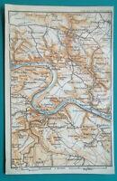 "GERMANY Konigstein Hohnstein Environs - 1912 MAP Baedeker 4 x 6"" (10 x 15,5 cm)"
