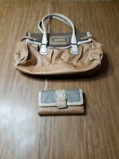 Guess Leather Ostrich Handbag And Matching Wallet Tan/Brown/Cream