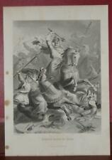 Charles Martel The Hammer Antique Original History Engraving Art Print