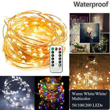 LED String Fairy Hanging Light Copper Wire Wedding Xmas Party W/ Remote Control