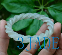 60mm Hand Carved Nephrite Jade Twisted Ropes Shape Bangle / Bracelet
