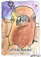 Star Wars ESB Illustrated Sketch Card, Giant Space Slug by Kate Carleton