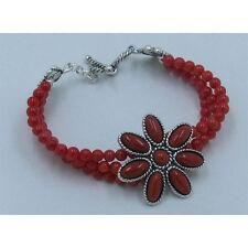 3 Strand 925 Sterling Silver Natural Red Orange Mediterranean Coral Bracelet