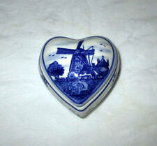 Elesva Holland Hand Painted Delft Blue Heart Shaped Trinket Box + Lid, Windmill