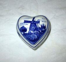 Elesva Holland Hand Painted Delft Blue Heart Shaped Trinket Box + Lid, Windmill