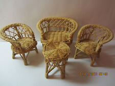 Vintage Barbie Doll Wicker Furniture Set-2 Chairs, Sofa & Table-Hong Kong