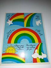 Vintage Rare Hard To Find Rainbows Sticker Sheet Dove Star Sun Clouds Positive M