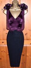 KAREN MILLEN EXQUISITE PURPLE BLACK SATIN WIGGLE PENCIL DRESS UK 12 OCCASION
