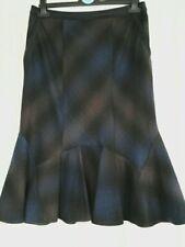 Per Una skirt, blue/brown print, lined,flared hem,size 10.