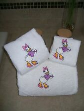 Embroidered Personalised Daisy 3 Piece Embroidered Bath Towel Set