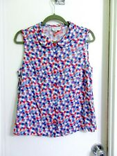 Agnes b L FR 44 Multicolor Geo Print Sleeveless Blouse Viscose Pink Blue Superb!
