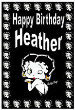 BETTY BOOP - BIRTHDAY CARD PERSONALISED - ANY NAME - BRAND NEW - GLOSS FINISH