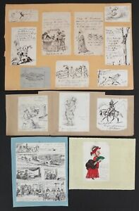 Lot Of 16 Antique Collection Of Victorian Cartoons Drawings in Ink Dated 1877-90
