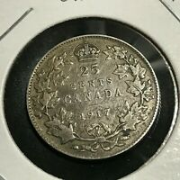 1917  CANADA SILVER 25 CENTS BETTER COIN