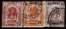 BENADIR Poste Italienne timbres 1903/07 N°12-20-27 Le lion .belle cote 82m230T3