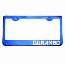 Blue Chrome License Plate Frame DURANGO Laser Etched Metal Screw Cap