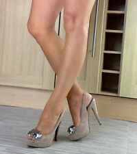 Zara Shoes Size 4, Suede Beige/Mushroom Embellished Peep-the Slingback Heels