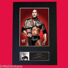 THE ROCK Dwayne Johnson WWE Signed Autograph Mounted Photo Repro A4 Print 477