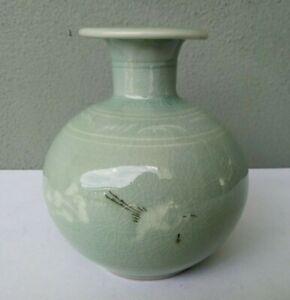 SIGNED KOREAN ART POTTERY VASE w/ CRANES - CRACKLE CELADON GLAZE