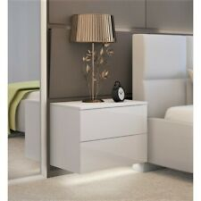 Wall mounted White Bedside Table / Cabinet / Push to Open / High Gloss / LED !!!