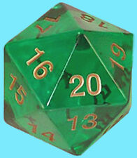 KOPLOW GAMES 55MM TRANSLUCENT EMERALD w/ GOLD DIE D20 Countdown Dice MTG Green